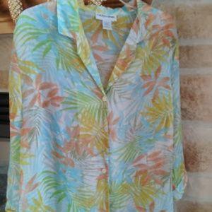Cathy Daniels, XL, semi sheer tropical blouse
